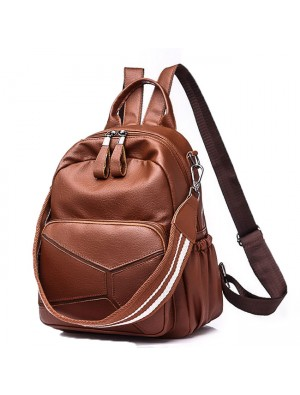 Leisure PU Large Brown Leather Multi-function Shoulder Bag School Backpack