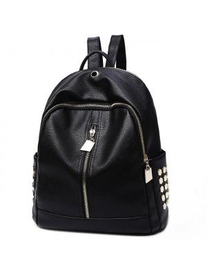 Punk Black PU Lichee Pattern Rivet Zipper School Headphone Hole School Backpack