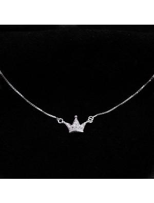 Diamond Mini Imperial Crown Pendant Silver Delicate Necklace