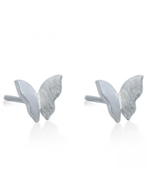Original Pure Butterfly Simple Brushed Silver Mini Cute Animal Earring Studs