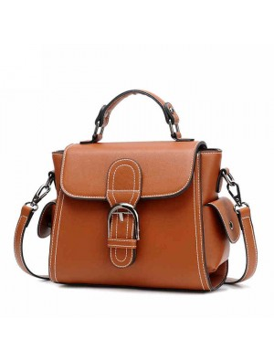 Elegant Retro Brown Single Button Women's PU Shoulder Bag