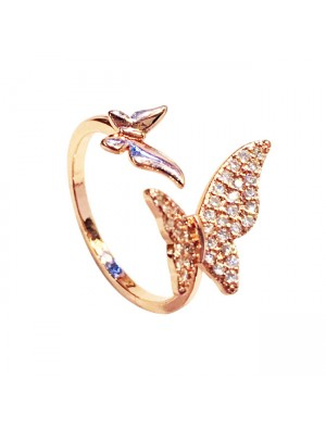 Personality Airplane Butterfly Love Strawberry Rhinestone Adjustable Open Ring