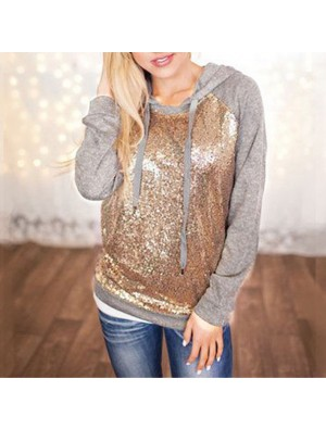 Fashion Women's Hooded Jacket Ladies Sequins Splicing Casual T-shirt Pullover Tops