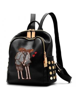 Leisure Black PU Cartoon Lovers Embroidery Rivets Girl's School Bag Travel Backpack