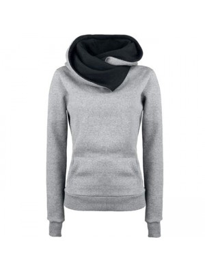 Simple Turn-down Collar Hoodie Pullovers Coat Autumn Women's Thick jacket Sweater