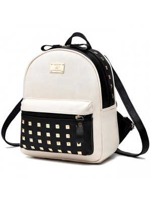 Leisure School Rivets Splicing Color Blocking Square Girl's Backpack PU Travel Backpack
