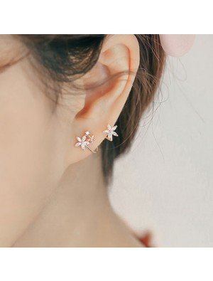 Sweet Lady Silver Arc Hook Flower Earring Studs