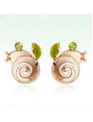 Cute Snail Animal Rhinestone Birthday Earrings