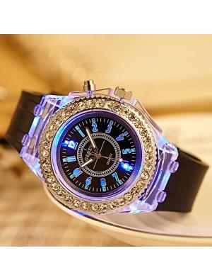 Personality Rhinestone Luminous Colored Lights Watches