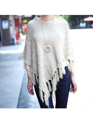New Autumn Leisure Hollow Tassel Irregular Cloak Hedging Cape Sweater