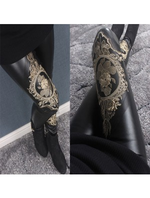 Fashion Girl's Gold Thread Embroidery Lace Splicing Matte Fuax Leather Fall and Winter Cotton Velvet Ninth Leggings