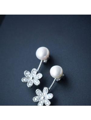 Cute Shining Pearl Drop Flower Silver Earrings Studs