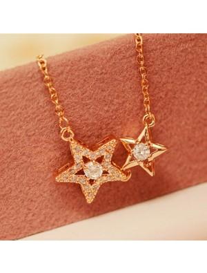 Romantic Double Star Flash Diamond Pendant Clavicle Necklace