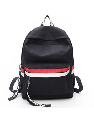 Leisure Two Color Stripes Waterproof Striped Student Bag Canvas School Backpack