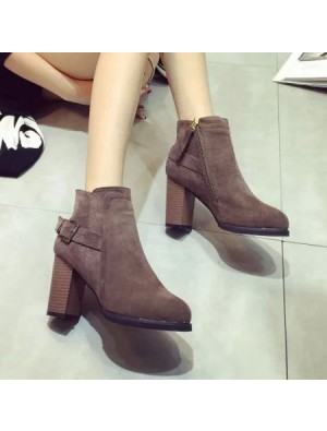 Matte High Heeled Ankle Short Boot Rotre Round Toe Side Zipper Martin Boots