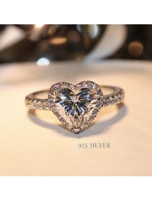 Romantic Love Heart Zircon Shining Wedding Jewelry Silver Diamond Ring