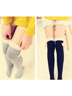 Sweet Bowknot Lace Stitching High Socks/Stockings
