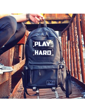 Leisure Travel Bag Men's Play Hard Canvas School Backpack