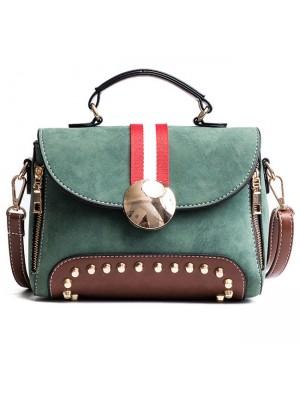 Unique Contrast Color Blocking PU Flap Punk Rivets Frosted Handbag Shoulder Bag
