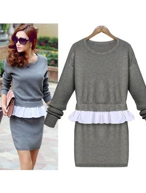False Two Piece Falbala Knit Sweater Dress
