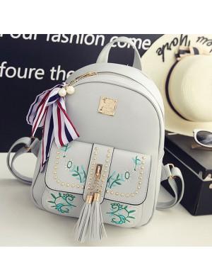 Sweet Leaves Embroidery Tassel Rivets  Flowers Girl's  PU School Backpack