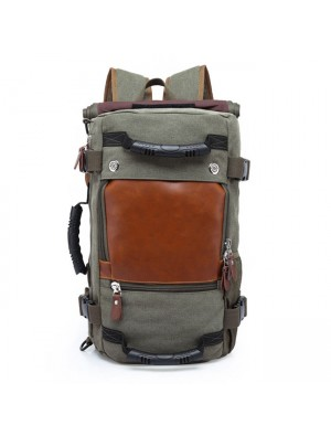 Vintage Cylindrical Drum Travel Multi-function Shoulder Bag Large Camping Canvas Backpack