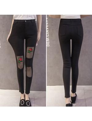 Fashion Rose Embroidery Black Mesh Ripped Stretchy Women's Skinny Ninth Jean Legging
