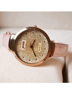 Dazzling Gold Rhinestone Leather Strap Quartz Watch