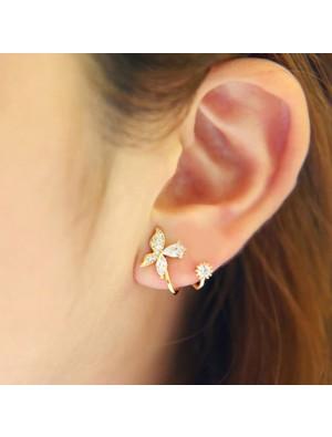 Fresh Silver Diamond Butterfly Spiral Flower Earrings Studs