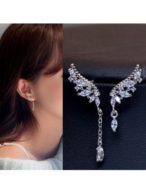 Shining Angel Wings Diamond Asymmetric Tassel Crystal Lady Earrings Studs