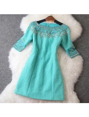 Luxury Beaded Middle Long Sleeve Woolen Dress/Party Dress