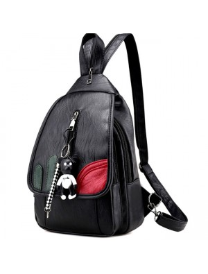 Cool Black Weave Bag Small Multi-function Shoulder Bag Lightweight PU Woven Backpack