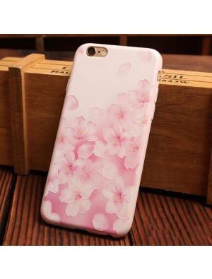 Candy Pink Flower Series Relief Silicone Soft Iphone Cases For 6/6Plus