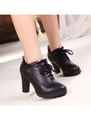 Lace Chalaza Leather High Heels Shoes