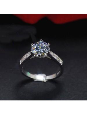 Shining  Silver Classic Diamond Romantic Wedding Zircon Jewelry Ring