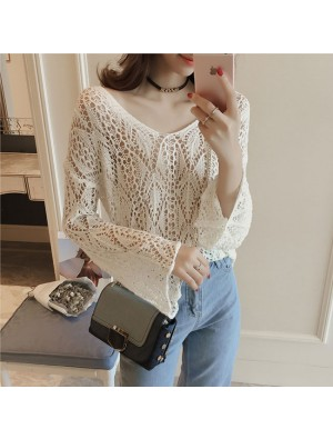 Fashion Girl's Spread Collar Flare Long-sleeved Hollowed-out See-through Irregular Sweater