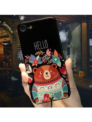 Cute Cartoon Embossed Bear Hello Flowers Iphone 6/6s/6 plus/6s plus/7/7 plus Case Iphone Cover