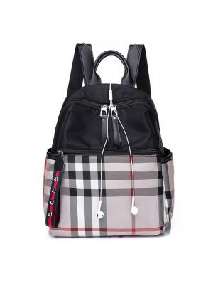 Leisure Multi-function School Bag Plaid Oxford School Backpack