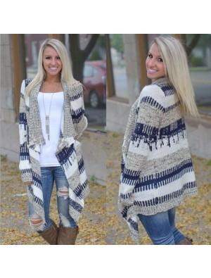 Fashion Mixed Color Irregular Long-sleeved Sweater Knit Cardigan