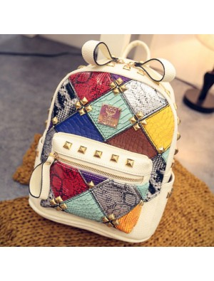 Fashion Mini Rivet Contrast School Rucksack Stitching Colorful Lady Backpack