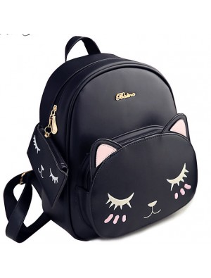 Fashion PU Cute Cat Printing Leisure Kitty Cartoon Kitten School Backpacks