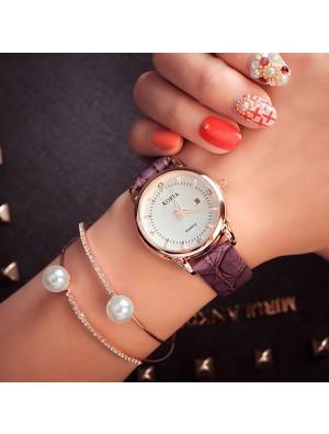 Elegant Cortical Women Waterproof Diamond Calendar Quartz Wrist Watch