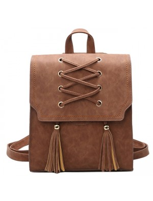Retro Girl's Cross Bandage Tassels Flap Square Brown Weave Leisure Travel Backpack