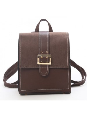 Retro British PU Leather Multi-function Shoulder Bag Brown Single Button Square Backpack