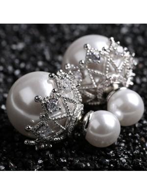 Shining Hollow Diamond-bordered Pearl Amphibious Women's Earring Studs