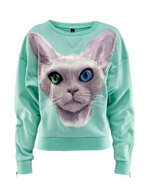 Blue Eye Cat Print Warm Loose Cotton Sweatshirt