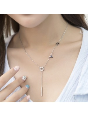 Romantic Gift For Her Love Pendant Chain Titanium Necklace