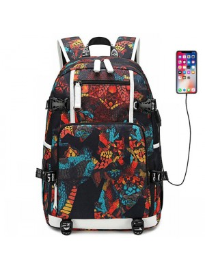 Unique Complex Pattern USB Interface Waterproof Oxford Boy High School Bag Sport Backpack