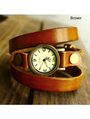 Retro and Fashion Wrap Handmade Leather Bracelet Watch