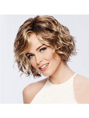 Fashion Brown Short Roll Mixed Fluffy COS Headgear Wave Ladies Hair Wig